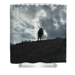 Silhouette Of A Hiker On Middle Sugarloaf Mountain - White Mountains New Hampshire Usa Shower Curtain by Erin Paul Donovan