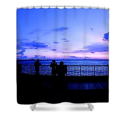 Shower Curtain featuring the photograph Silhouette Of People At Sunset by Yali Shi