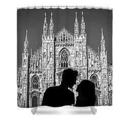 Silhouette Of Young Couple Kissing In Front Of Milan's Duomo Cathedral Shower Curtain