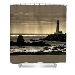 Silhouette Sentinel - Pigeon Point Lighthouse - Central California Coast Spring Shower Curtain by Michael Mazaika