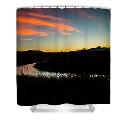 Silhouette Sunset Shower Curtain