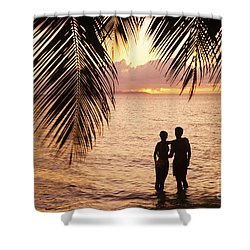 Silhouetted Couple Shower Curtain by Larry Dale Gordon - Printscapes