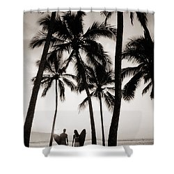 Silhouetted Surfers - Sep Shower Curtain by Dana Edmunds - Printscapes