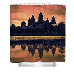 Silhouettes Angkor Wat Cambodia Mixed Media  Shower Curtain