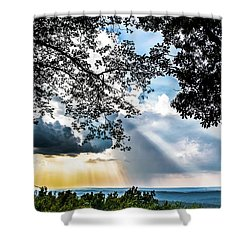 Shower Curtain featuring the photograph Silhouettes At The Overlook by Shelby Young