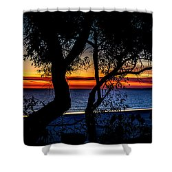 Silhouettes Over Blue Water Shower Curtain