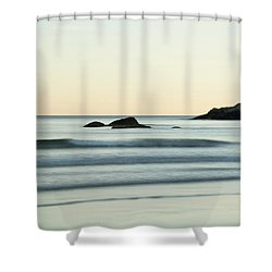 Silky Water And Rocks On The Rhode Island Coast Shower Curtain by Nancy De Flon