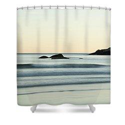 Silky Water And Rocks On The Rhode Island Coast Shower Curtain by Nancy De Flon