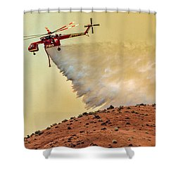 Shower Curtain featuring the photograph Siller Helicopter  by Robert Bales
