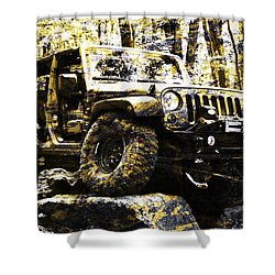 Silver And Gold Jeep Wrangler Jku Shower Curtain
