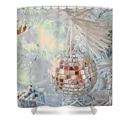 Silver And White Christmas Shower Curtain