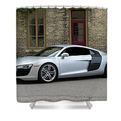 Shower Curtain featuring the photograph Silver Audi R8 by Joel Witmeyer