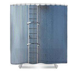 Silver Blue Silo With Steel Ladder. Shower Curtain