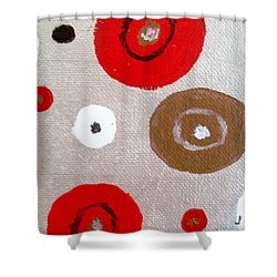 Silver Circle Abstract Shower Curtain by Jamie Frier