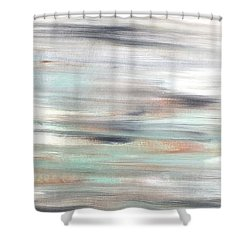 Silver Coast #25 Silver Teal Landscape Original Fine Art Acrylic On Canvas Shower Curtain