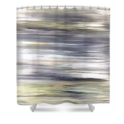 Silver Coast #26 Silver Teal Landscape Original Fine Art Acrylic On Canvas Shower Curtain