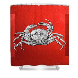Shower Curtain featuring the digital art Silver Crab On Red Canvas by Serge Averbukh