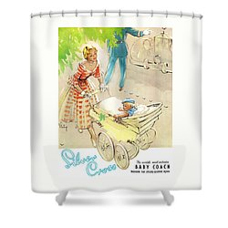 Shower Curtain featuring the digital art Silver Cross Baby Coach by Reinvintaged