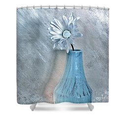Silver Daisy Whimsical Flower Shower Curtain