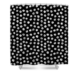 Silver Dots Pattern  Shower Curtain by Stanley Wong