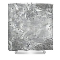 Silver Gray Abstract Minimalist Painting  Shower Curtain