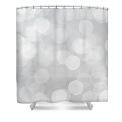 Silver Grey Bokeh Abstract Shower Curtain