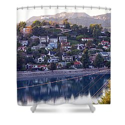 Silver Lake Reservoir With Griffith Observatory And Hollywood Sign Shower Curtain