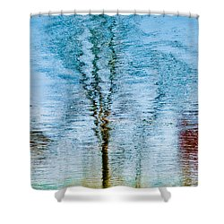 Silver Lake Tree Reflection Shower Curtain