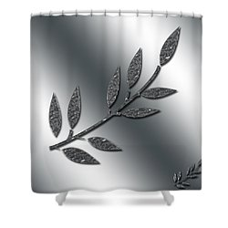 Silver Leaves Abstract Shower Curtain
