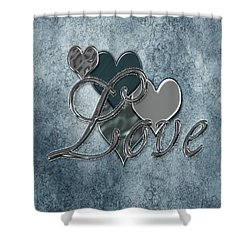 Silver Love Shower Curtain