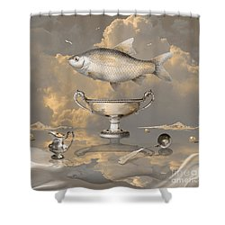 Shower Curtain featuring the digital art Silver Mood by Alexa Szlavics
