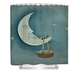 Silver Moon With Picnic Basket Shower Curtain