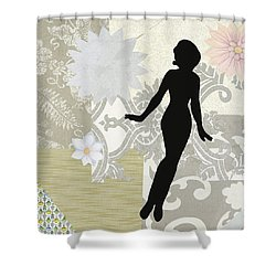 Silver Paper Doll Shower Curtain