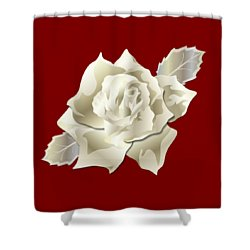 Silver Rose Graphic Shower Curtain by MM Anderson