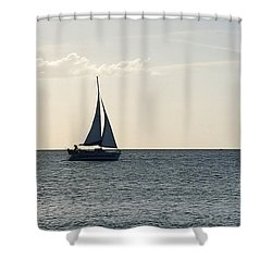 Silver Sailboat Shower Curtain by Jeanne Forsythe