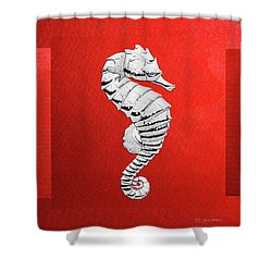 Shower Curtain featuring the digital art Silver Seahorse On Red Canvas by Serge Averbukh