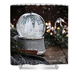 Silver Snow Globe Shower Curtain