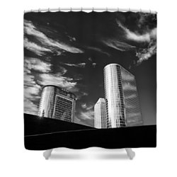 Silver Towers Shower Curtain by Dave Bowman
