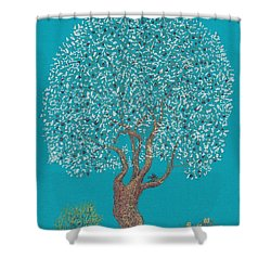 Silver Tree Shower Curtain