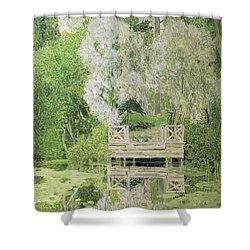 Silver White Willow Shower Curtain by Aleksandr Jakovlevic Golovin