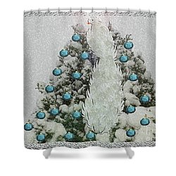 Silver Winter Bird Shower Curtain