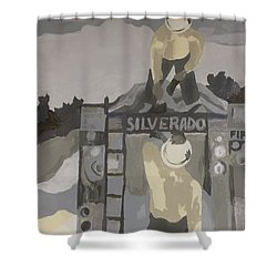 Shower Curtain featuring the painting Silverado Crew by Erika Chamberlin