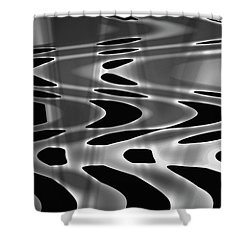 Silvery Abstraction Bw  Shower Curtain by David Gordon