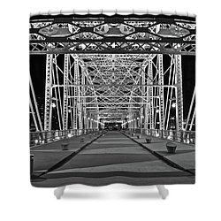 Shower Curtain featuring the photograph Silvery Bridge by Frozen in Time Fine Art Photography