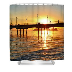 Sily Sunset At The Pier Shower Curtain