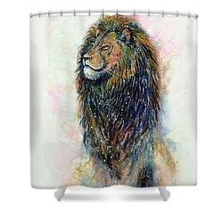 Shower Curtain featuring the painting Simba by Zaira Dzhaubaeva