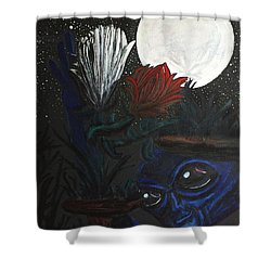 Shower Curtain featuring the painting Similar Alien Appreciates Flowers By The Light Of The Full Moon. by Similar Alien