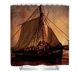 Simonsen Niels Arab Pirate Attack Shower Curtain by Niels Simonsen