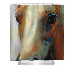 Shower Curtain featuring the painting Simple Horse by Frances Marino