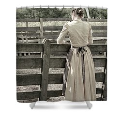 Simple Life Girl On Farm Shower Curtain by Julie Palencia
